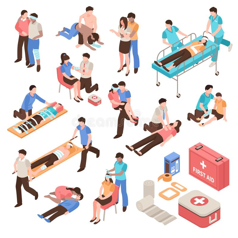 First Aid Isometric Set royalty free illustration
