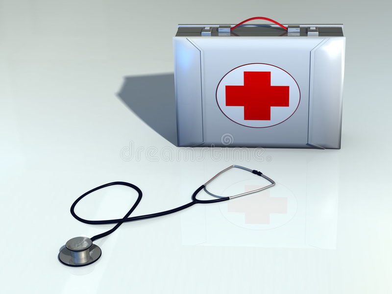 First aid kit. And stethoscope. CG illustration royalty free illustration