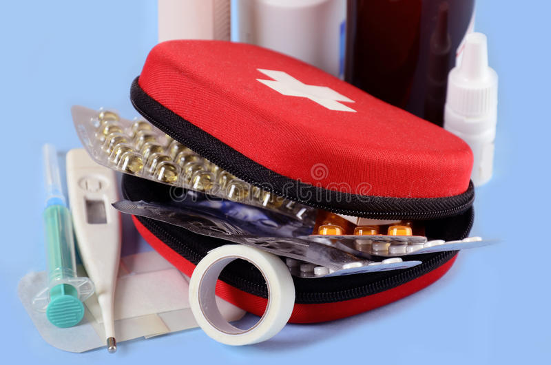 Download First aid kit stock image. Image of safety, blue, plaster - 26164311