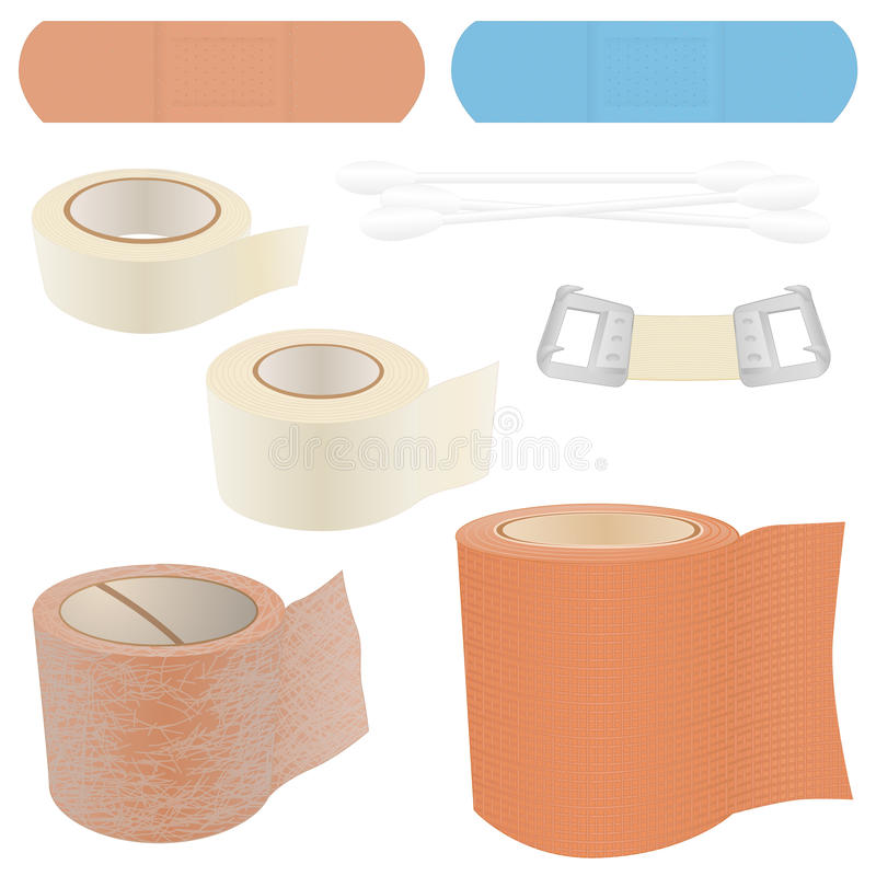 First Aid Kit - Bandages. A collection of 8 vector illustrations of bandage items, commonly found in First Aid Kits, including Bandages, Plasters, Cotton Swabs stock illustration