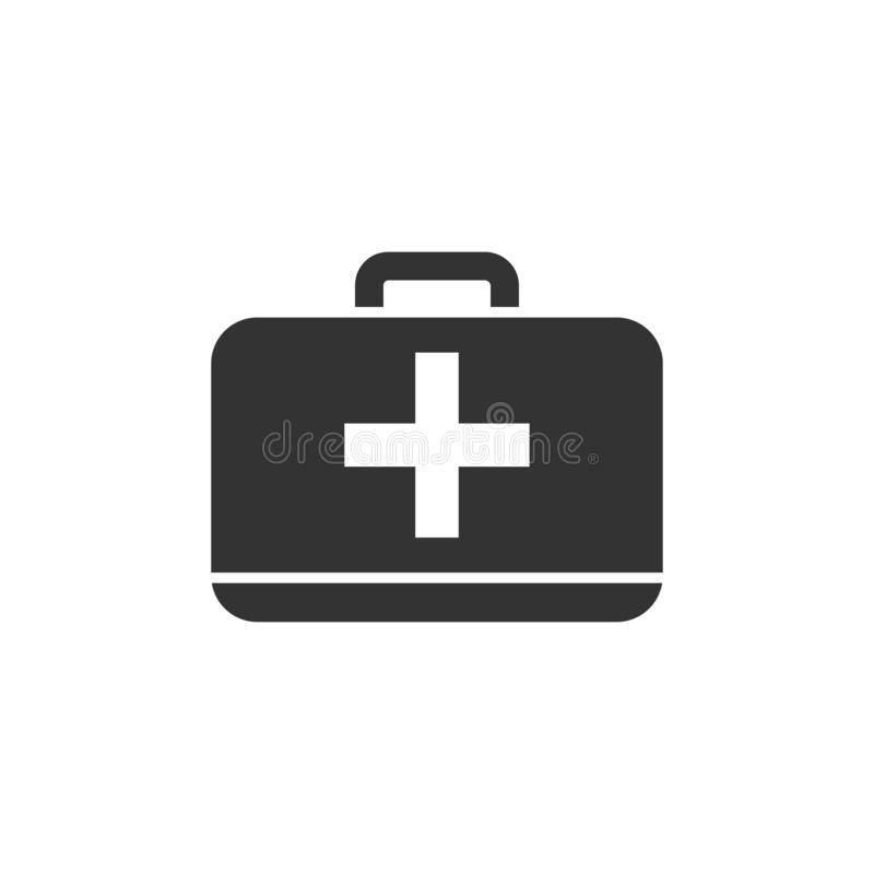 First aid kit icon flat stock illustration