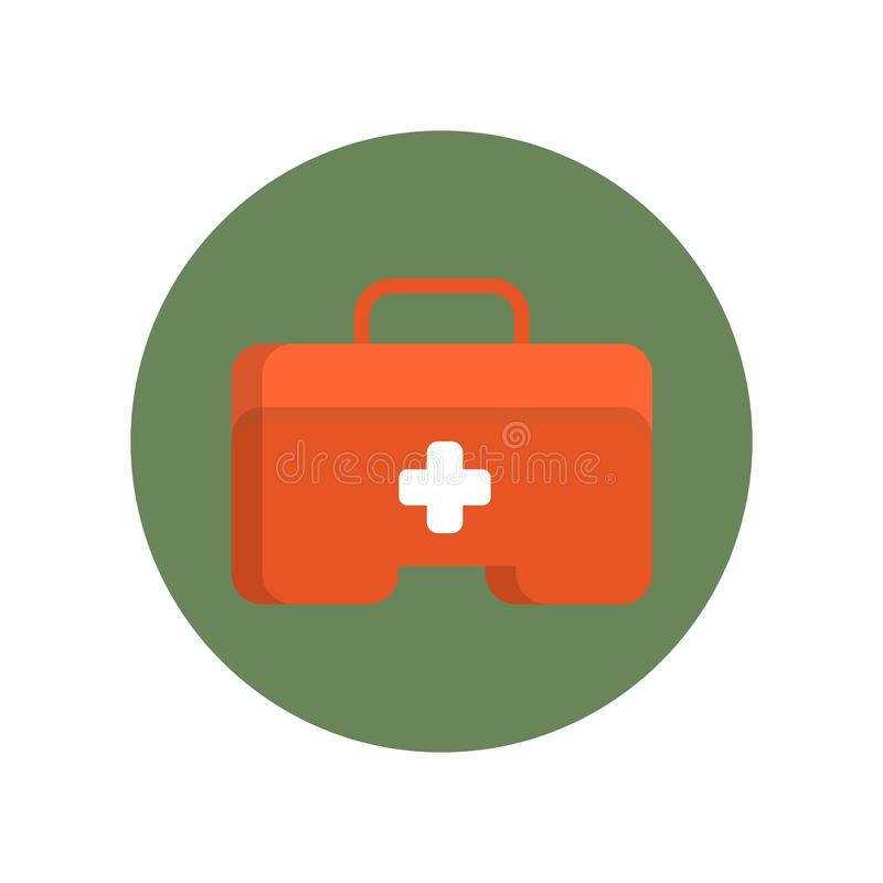 First aid kit box flat icon in green circle for web stock illustration