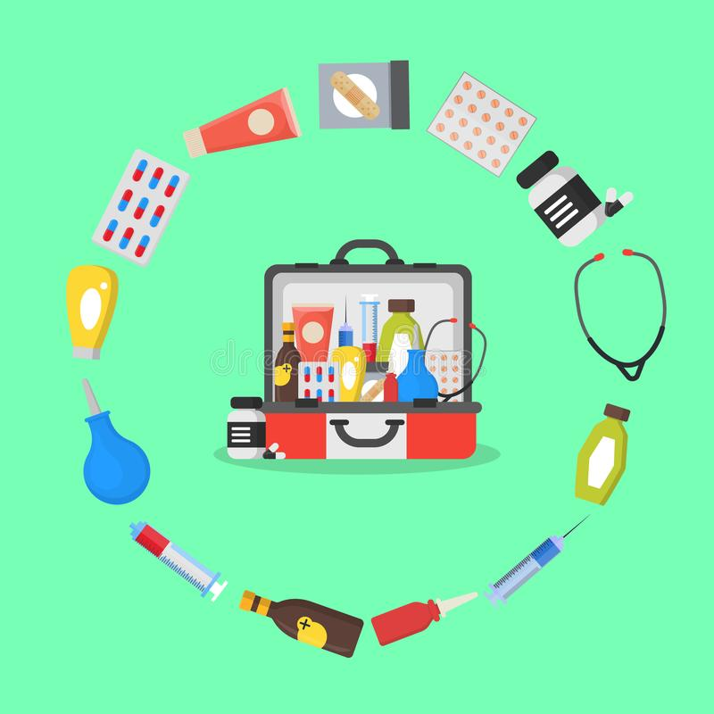 First Aid Kit Box or Suitcase and Element Concept. Vector royalty free illustration