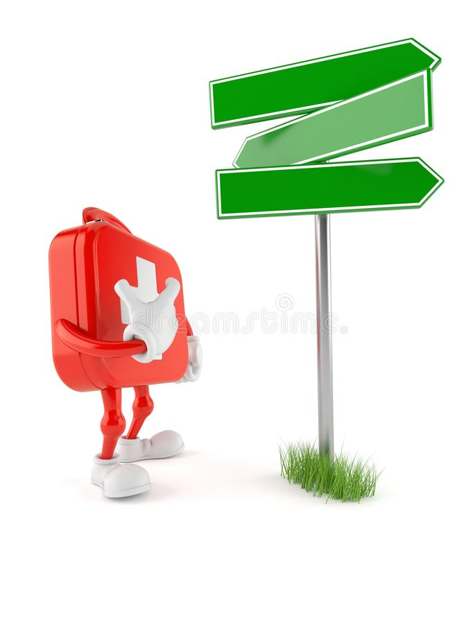 First aid kit character with blank signpost. Isolated on white background. 3d illustration stock illustration