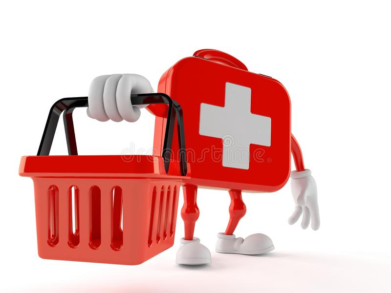 First aid kit character holding empty shopping basket royalty free illustration