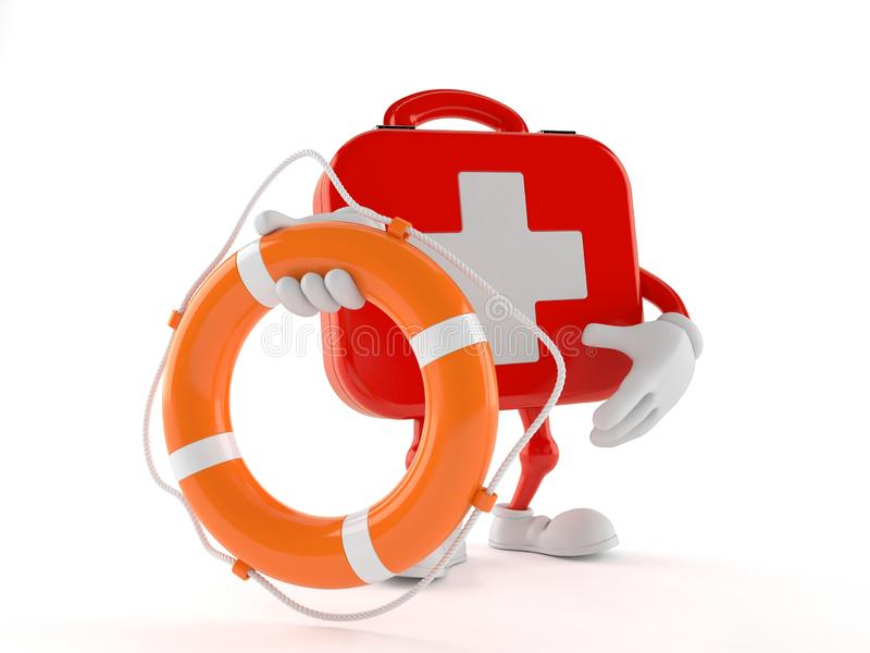 First aid kit character holding life buoy stock illustration