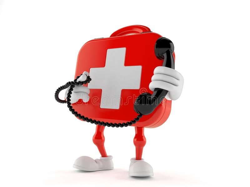 First aid kit character holding a telephone handset vector illustration