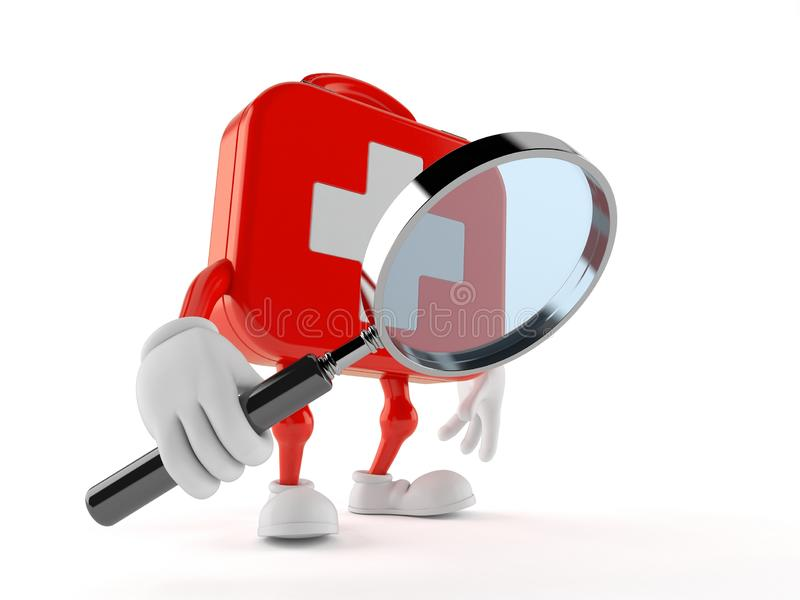 First aid kit character looking through magnifying glass stock illustration