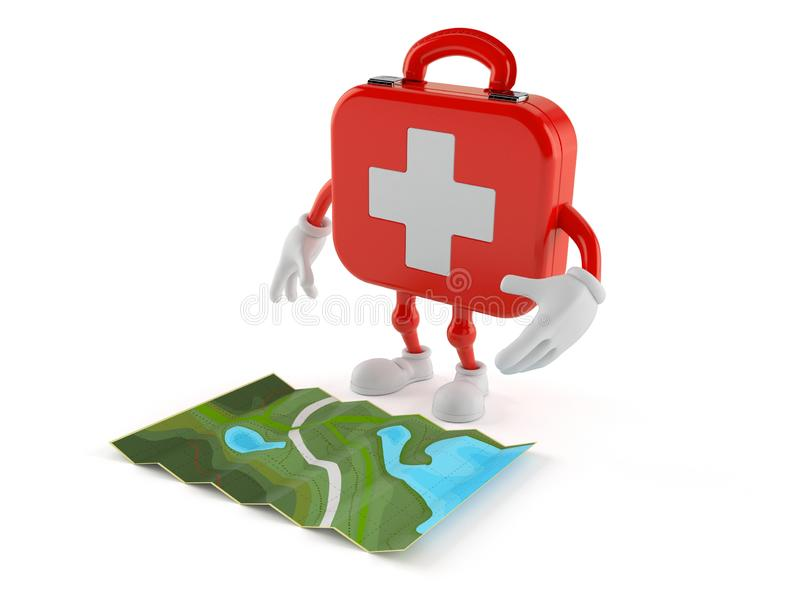 First aid kit character looking at map royalty free illustration