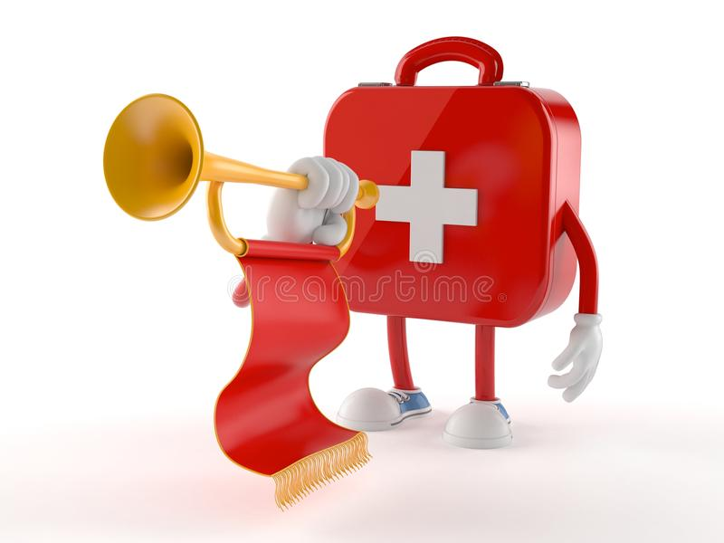 First aid kit character playing the trumpet royalty free illustration