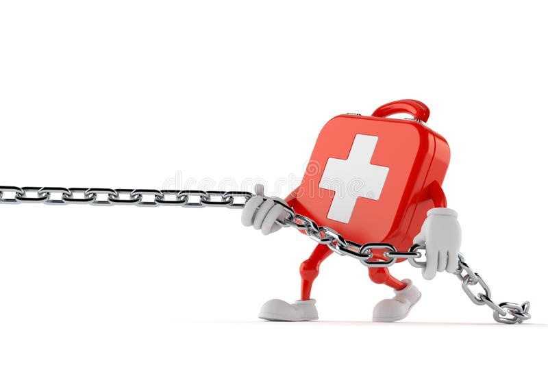First aid kit character pulling chain vector illustration
