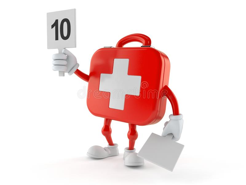 First aid kit character with rating number royalty free illustration