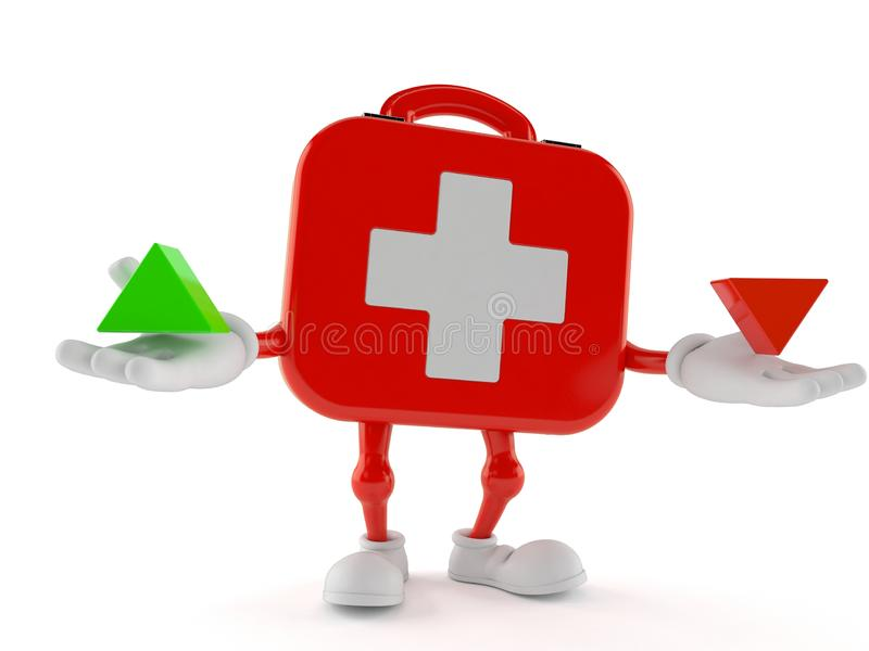 First aid kit character with up and down arrow royalty free illustration