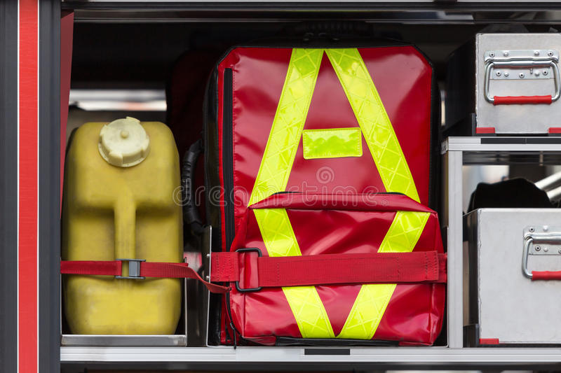 First aid kit fire truck royalty free stock photography