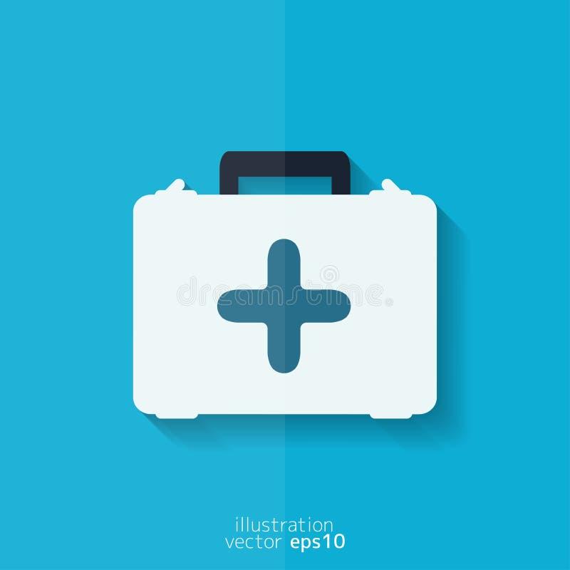 First aid kit icon. Flat design. vector illustration