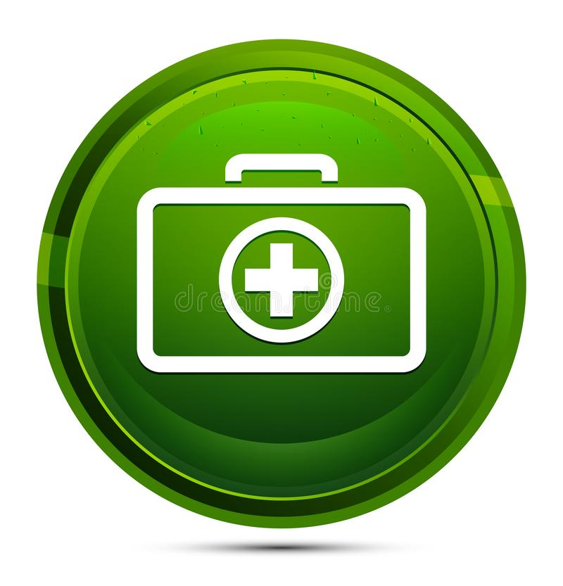 First aid kit icon glassy green round button illustration. First aid kit icon isolated on glassy green round button illustration vector illustration