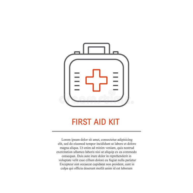 First aid kit icon and text royalty free illustration