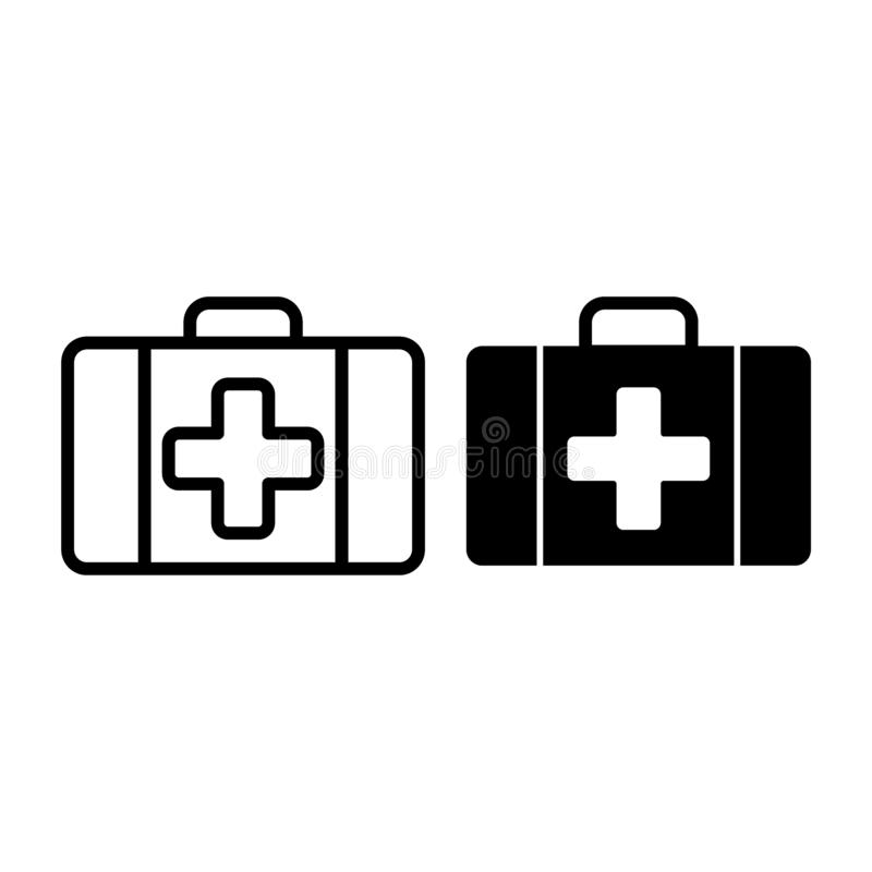 First aid kit line and glyph icon. Medical case vector illustration isolated on white. Emergency outline style design vector illustration