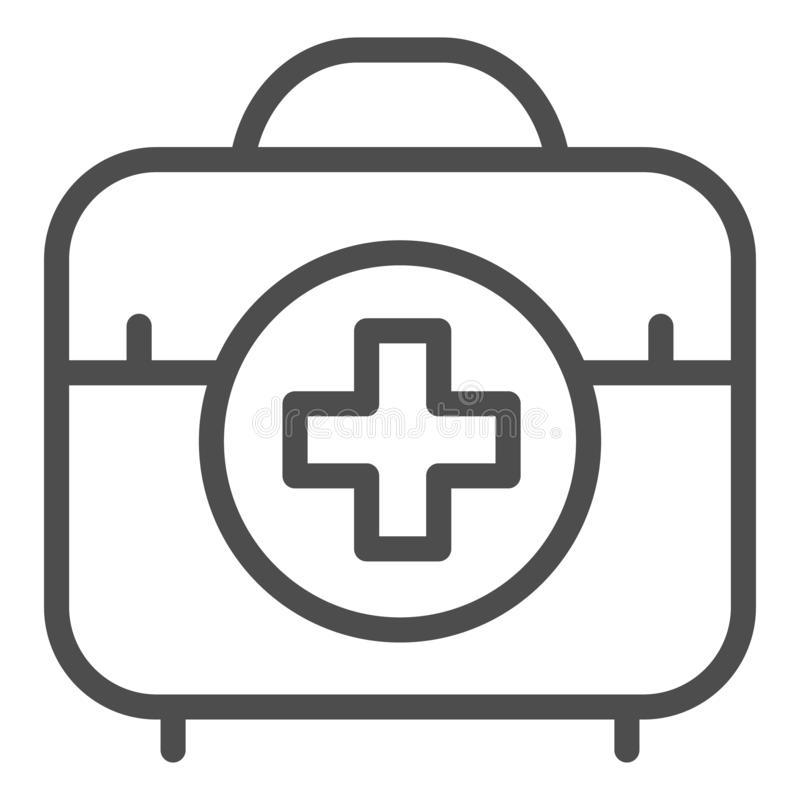 First aid kit line icon. Medical bag vector illustration isolated on white. Doctor suitcase outline style design stock illustration