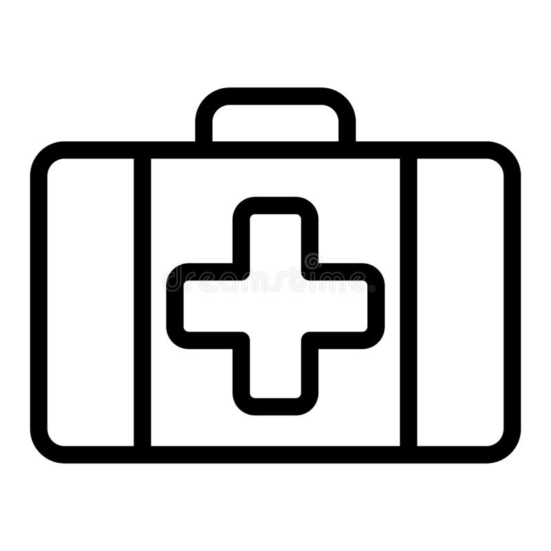First aid kit line icon. Medical case vector illustration isolated on white. Emergency outline style design, designed royalty free illustration