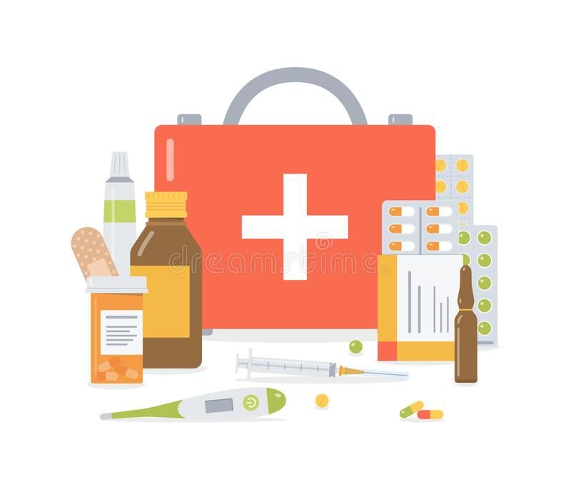 First aid kit medical concept vector illustration