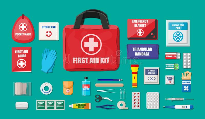 First aid kit with medical equipment vector illustration