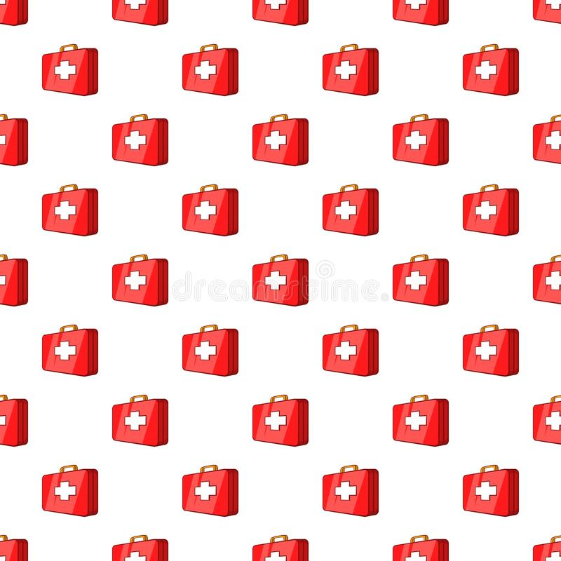 First aid kit pattern, cartoon style. First aid kit pattern. Cartoon illustration of first aid kit vector pattern for web vector illustration