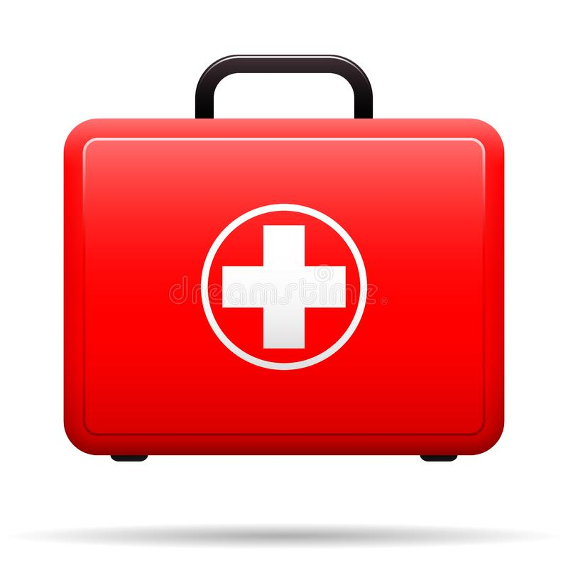 First aid kit. Red case with medical emblem. Box for medications. Suitcase with tools for first aid. Vector . stock illustration