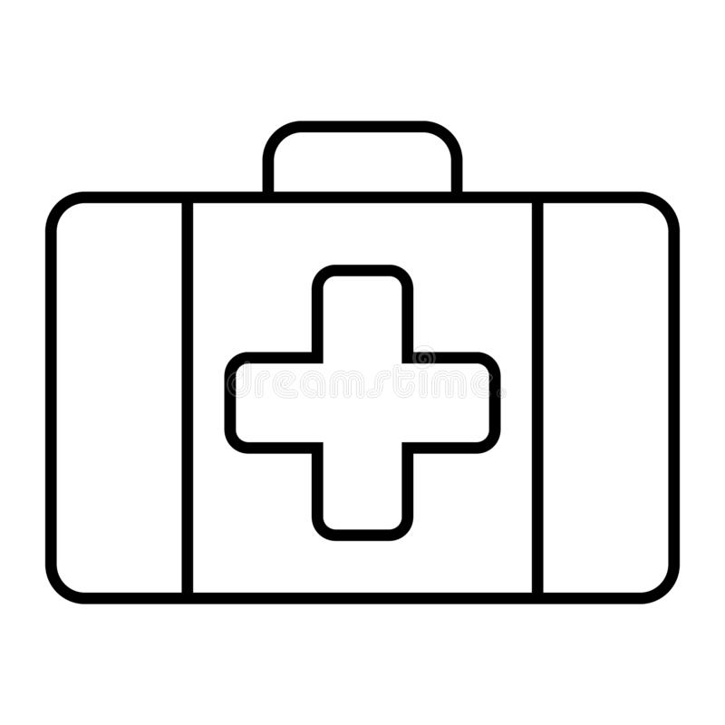 First aid kit thin line icon. Medical case vector illustration isolated on white. Emergency outline style design royalty free illustration