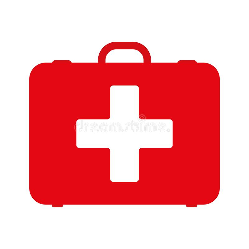 First aid kit. White first aid kit isolated on blue background. Health, help and medical diagnostics concept. Flat design. vector illustration