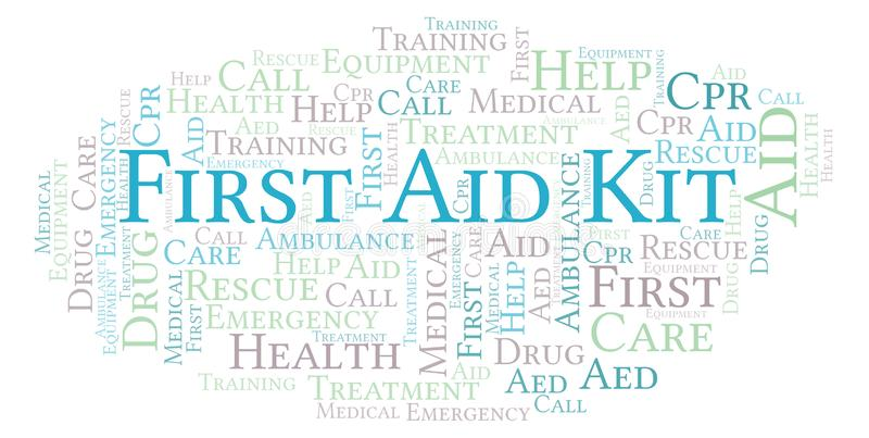 First Aid Kit word cloud, made with text only. vector illustration