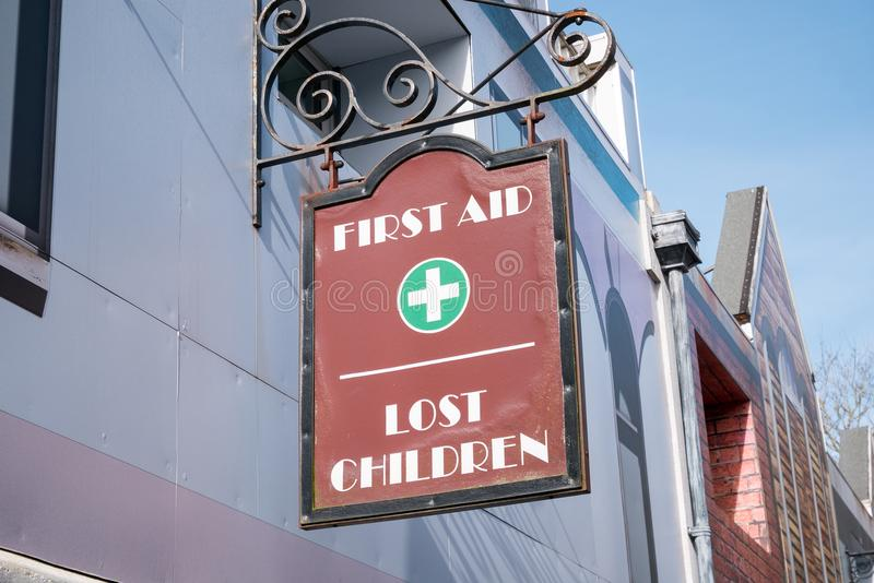 First aid and lost children office. In UK stock images
