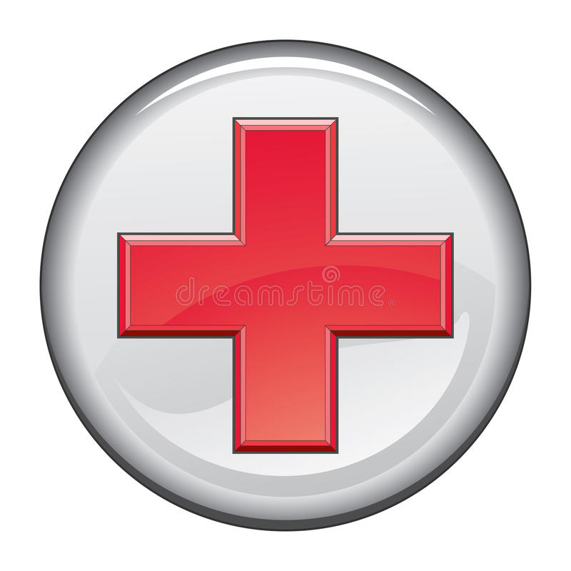 First Aid Medical Cross Button stock illustration