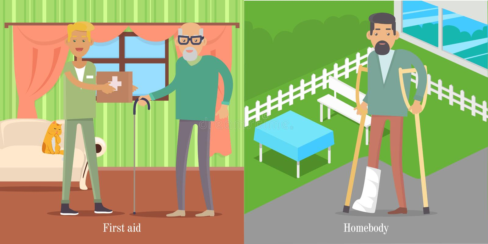 First Aid for Oldsters. Man walk with Broken Leg. First aid of medical workers for oldsters. Young doctor with medicine chest helps man. Man walks with broken vector illustration
