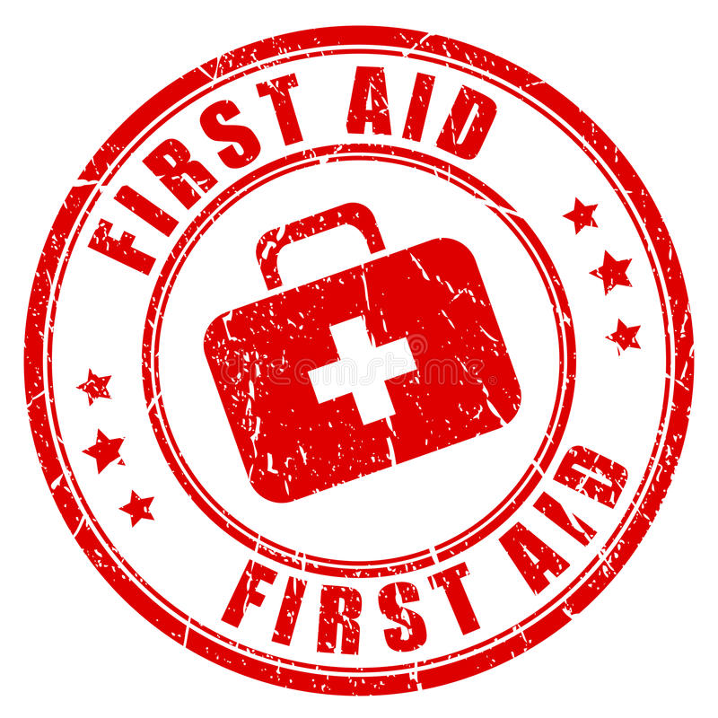 First aid rubber stamp stock illustration