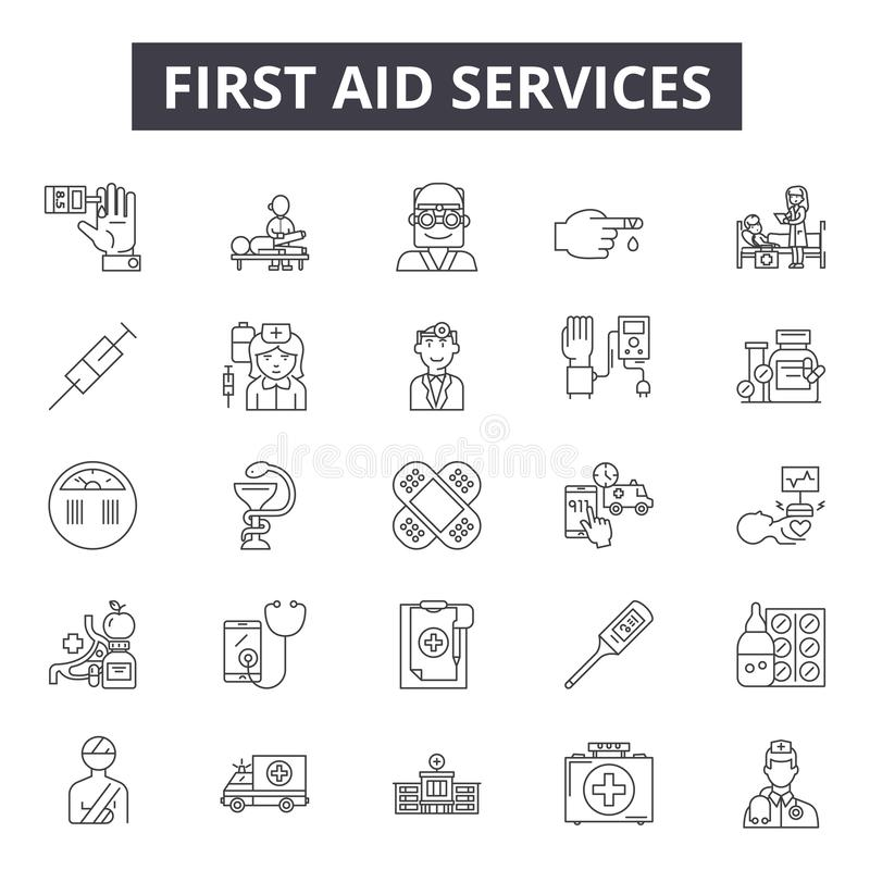 First aid services line icons for web and mobile design. Editable stroke signs. First aid services outline concept royalty free illustration