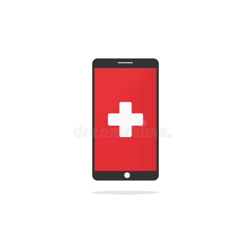 First aid sign on device screen royalty free illustration
