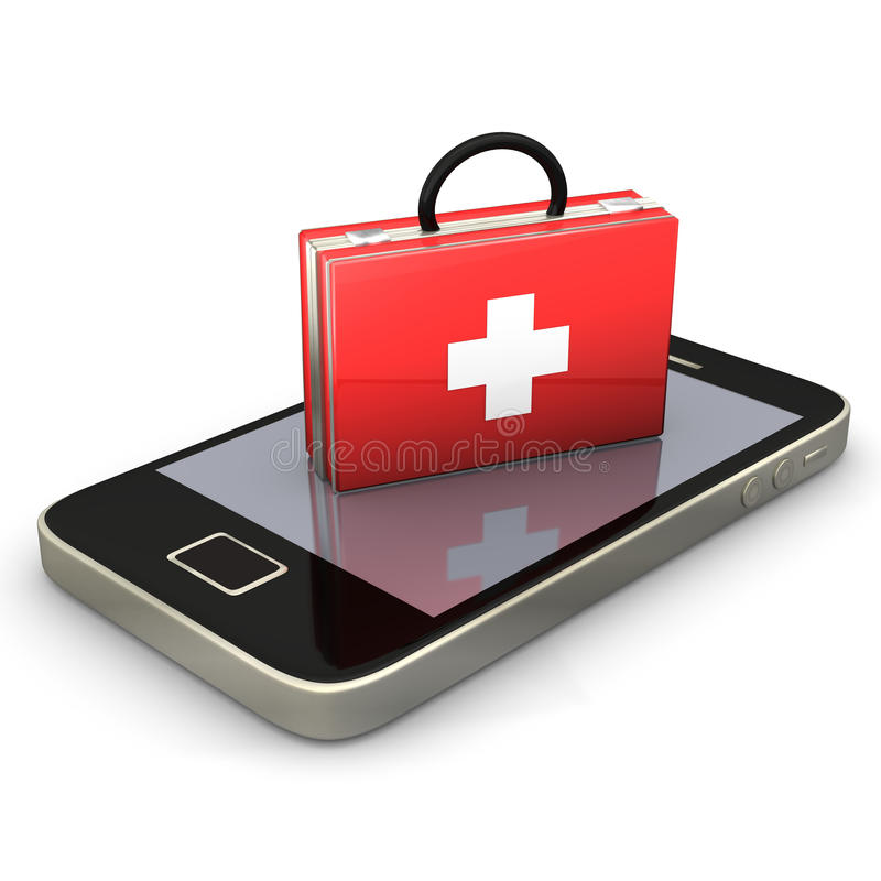 First Aid Smartphone. First aid case with smartphone on the white background stock illustration