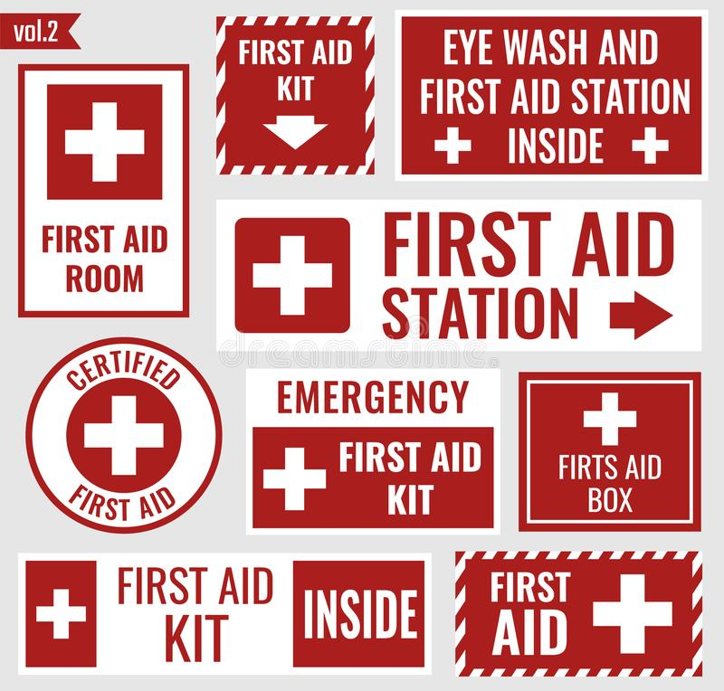 First aid stickers. First aid label and sign set, vector illustration vector illustration