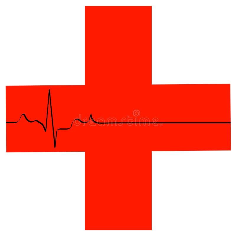 First aid symbol. With flatline heart rhythm - vector stock illustration