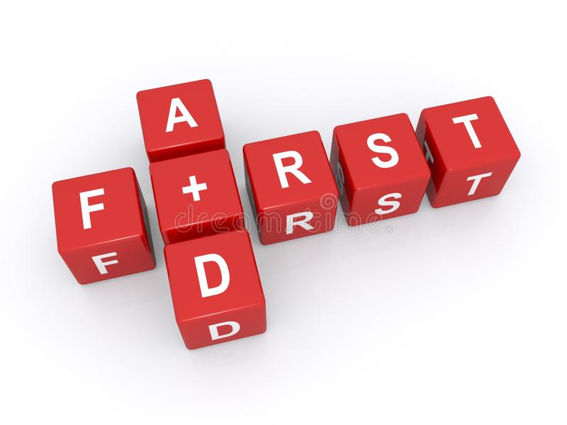 First aid. Text 'first aid' in upper case letters on red cubes arranged cross word style, concept suggesting international red cross, white background