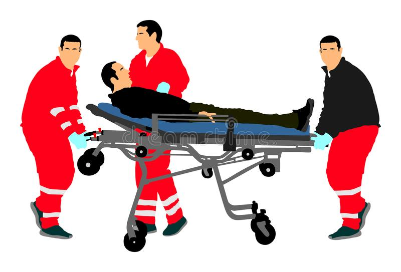 First aid training, help after crash accident transport injured person. Paramedics evacuate injured person. royalty free illustration