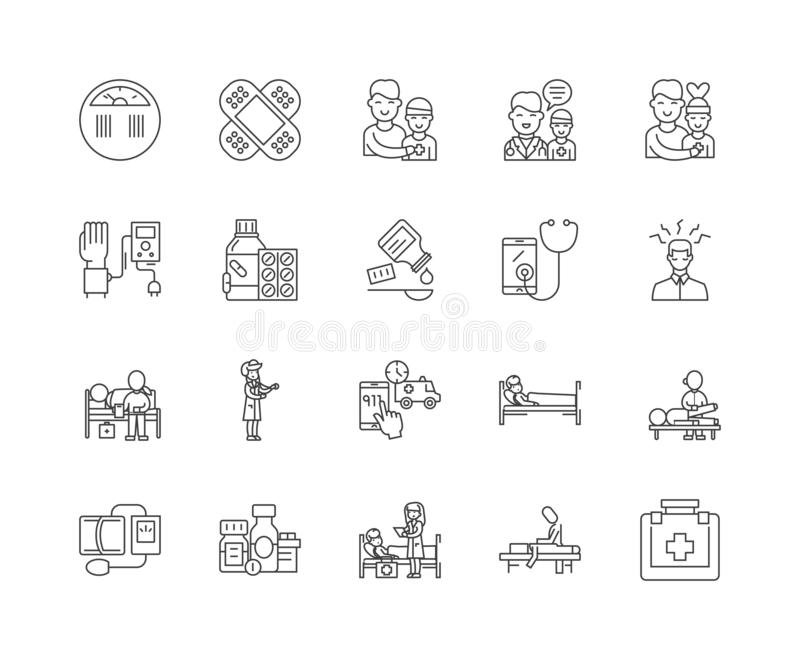 First aid training line icons, signs, vector set, outline illustration concept stock illustration