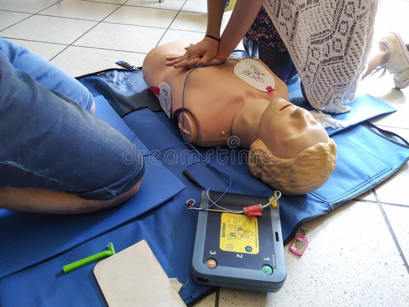 First aid training is most important to have an immediate reaction to heart attack especially with the more widespread presence of royalty free stock image