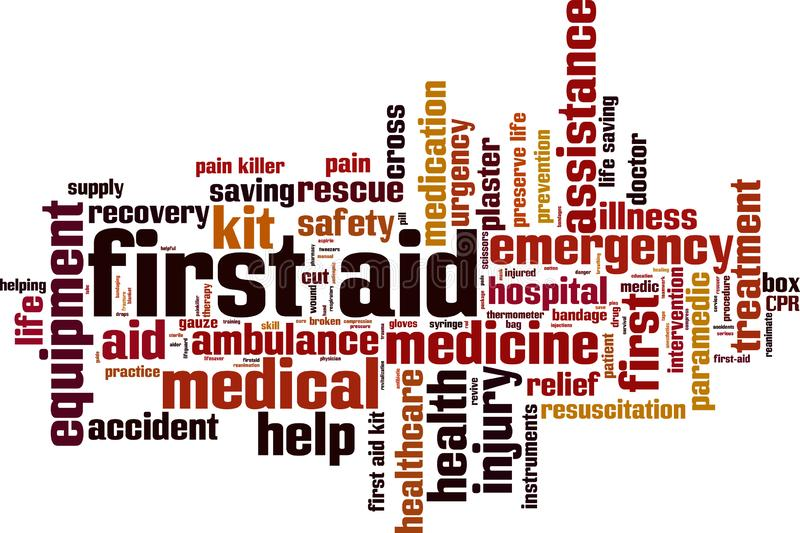 First aid word cloud stock illustration