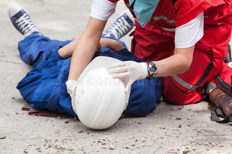 First aid after work accident royalty free stock photography