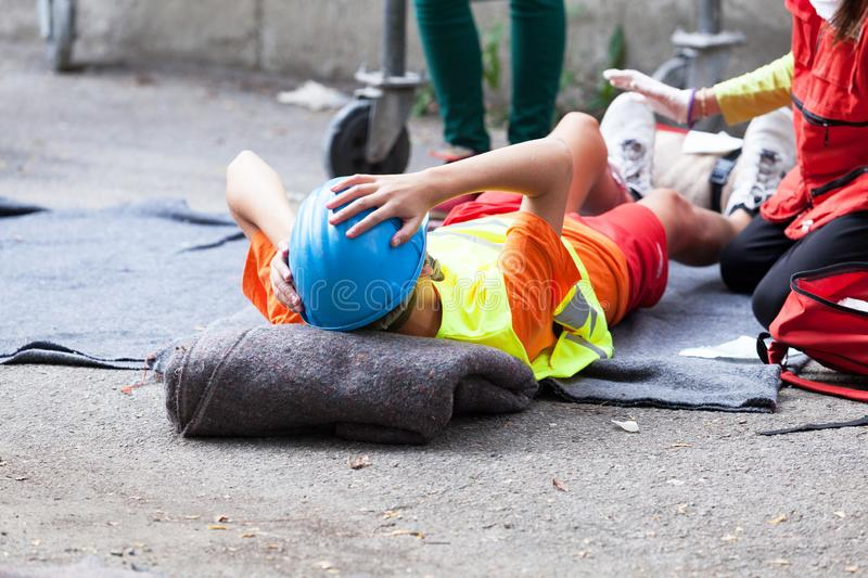 First aid after workplace accident royalty free stock images