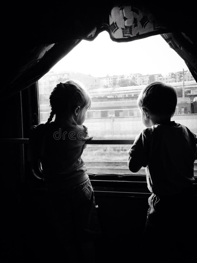 First date. In train stock photography