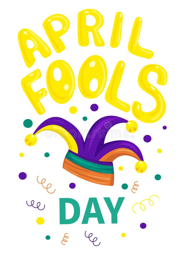 First april fool day, typography colorful card vector illustration