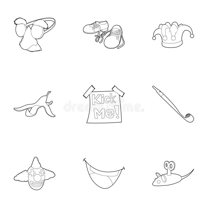 First of April icons set, outline style stock illustration